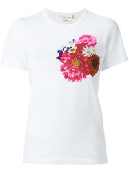 Comme Des Garcons Flower Chest Print T Shirt White