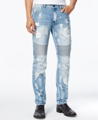 Reason Men's Slim Fit Moto Jeans Light Pastel Blue
