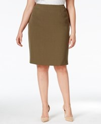 Kasper Plus Size Pencil Skirt Loden