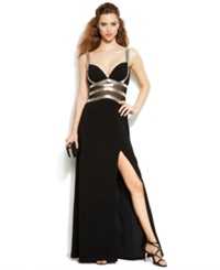 Joanna Chen Beaded Illusion Panel Side Slit Gown Black