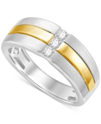 Macy's Men's Diamond Two Tone Ring 1 4 Ct. T.W. In 10K White And Yellow Gold