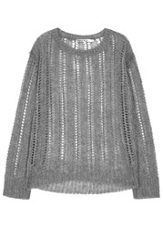 Pam And Gela Grey Open Knit Jumper
