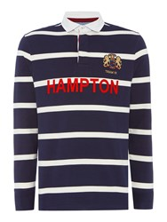 Howick Hampton Stripe Long Sleeve Rugby Shirt Navy