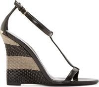 Burberry Black Leather Raffia Sidworth Sandals