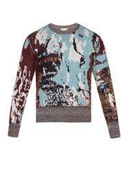 Cerruti Jacquard Wool Crew Neck Sweater