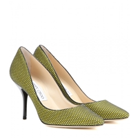 Jimmy Choo Mei Honeycomb Suede Pumps Acid Yellow