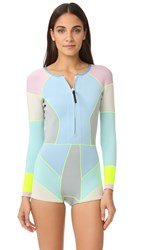 Cynthia Rowley Colorblock Wetsuit Pale Blue Multi
