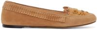 Charlotte Olympia Tan Suede Kitty Mocassin Flats