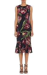 Dolce And Gabbana Women's Tulip Print Stretch Crepe Dress Black Purple No Color