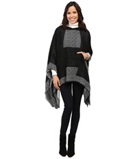 Vince Camuto Border Poncho W Center Pocket Black Women's Long Sleeve Pullover