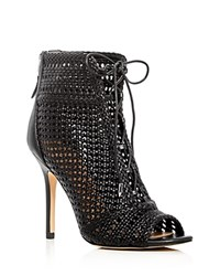 Sam Edelman Abbie Woven Open Toe High Heel Booties Black