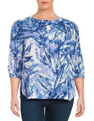 Nydj Plus Patterned Tunic Top Blue
