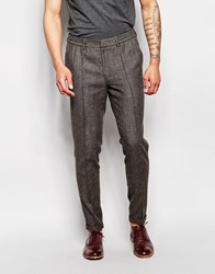 Asos Slim Smart Trousers With Drawstring Waist In Brown Tweed Brown