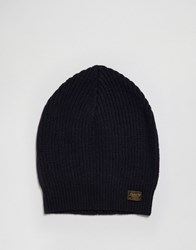 Scotch And Soda Rib Beanie Hat In Wool Navy
