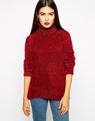 Goldie Country Roll Neck Fluffy Jumper Red
