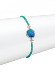 Meira T Opal Emerald Diamond And 14K Yellow Gold Beaded Bracelet Gold Turquoise