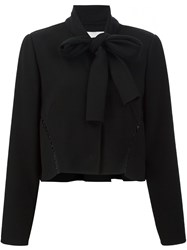 Carolina Herrera Tie Neck Cropped Jacket Black