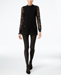 Inc International Concepts Petite Lace Sleeve Tunic Only At Macy's Deep Black