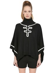 Boutique Moschino Wool Knit Poncho With Decorative Trim