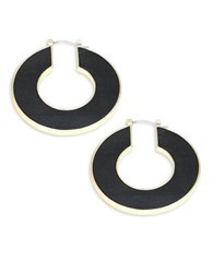 House Of Harlow Round Leatherette Accented Earrings Black