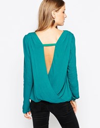 See U Soon Top With Wrap Back Detail Green