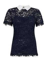 Michael Kors Short Sleeved Collared Lace Top Navy