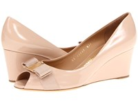 Salvatore Ferragamo Sissi New Bisque Patent Women's Wedge Shoes Beige