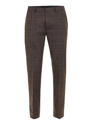 Topman Brown Check Skinny Fit Suit Trousers