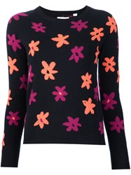 Chinti And Parker Flower Intarsia Jumper Black