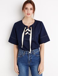 Pixie Market Pinstripe Eyelet Top By New Revival