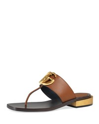 Gucci Marmont Logo Leather Thong Sandal Cuir