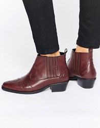 Glamorous Western Ankle Boots Burgundy Brown