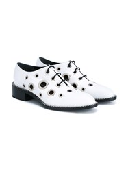 Proenza Schouler Leather Grommet Oxford Shoes White Black Almond Silver Denim