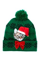 Bioworld Holiday Light Up Cat Beanie Green