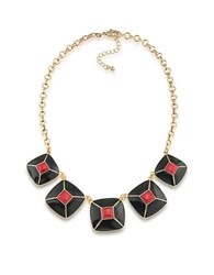 1St And Gorgeous Enamel Pyramid Pendant Statement Necklace In Red Black Gold