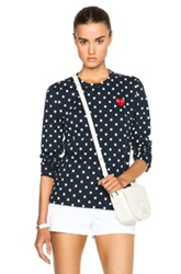Comme Des Garcons Play Cotton Red Emblem Dot Tee In Geometric Print Blue