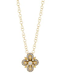 Freida Rothman Long Embellished Clover Pendant Necklace No Color