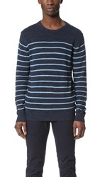Hartford Striped Crew Pullover Navy Stripes Chambray