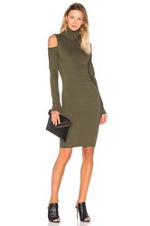 Pam And Gela Cold Shoulder Turtleneck Dress Green