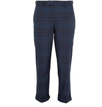Beams Plus Cropped Checked Cotton Blend Trousers Blue