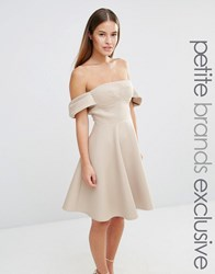 True Decadence Petite Off Shoulder Structured Full Midi Prom Dress Caramac Tan