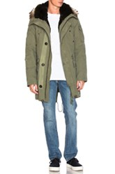 Yves Salomon Canvas Parka With Natural Rabbit And Coyote Fur In Green