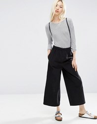 Asos Pull On Wide Leg Trousers In Charcoal Cord Charcoal Grey