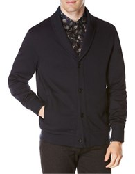 Perry Ellis Mix Media Shawl Collar Cardigan Dark Sapphire
