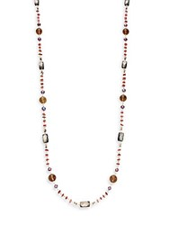 Stephen Dweck Verona 4Mm Plum Pearl And Multi Stone Necklace Silver