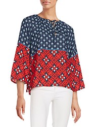 Collective Concepts Lace Up Peasant Top Navy Multi