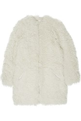 Etoile Isabel Marant Amery Leather Trimmed Shearling Coat White
