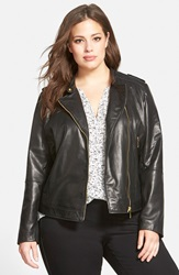 Bernardo Asymmetrical Zip Leather Moto Jacket Plus Size Black