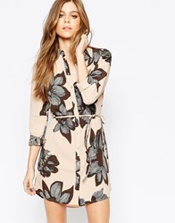 Vila Graphical Floral Shirt Dress Rugby Tan
