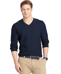 Izod Allover Links V Neck Fine Gauge Sweater Midnight